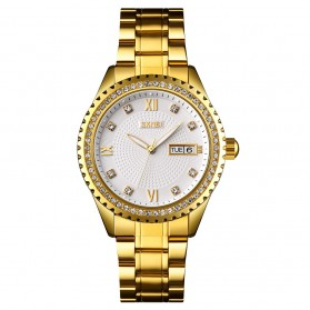 SKMEI Jam Tangan Mechanical Pria Automatic Movement - 9221 - White/Gold