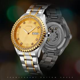 SKMEI Jam Tangan Mechanical Pria Automatic Movement - 9221 - White/Gold - 5