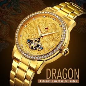 SKMEI Jam Tangan Mechanical Pria Automatic Movement - 9219 - Golden - 2