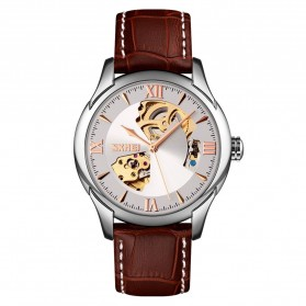 SKMEI Jam Tangan Mechanical Analog Pria Leather Strap - 9223 - White/Silver