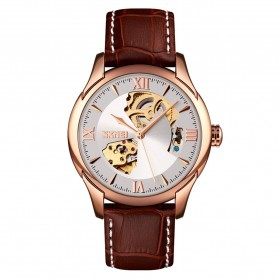 SKMEI Jam Tangan Mechanical Analog Pria Leather Strap - 9223 - Rose Gold/Silver