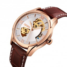 SKMEI Jam Tangan Mechanical Analog Pria Leather Strap - 9223 - Rose Gold/Silver - 2