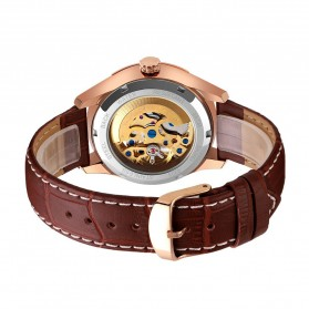 SKMEI Jam Tangan Mechanical Analog Pria Leather Strap - 9223 - Rose Gold/Silver - 3
