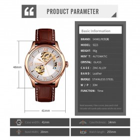 SKMEI Jam Tangan Mechanical Analog Pria Leather Strap - 9223 - Rose Gold/Silver - 6