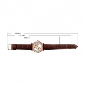 SKMEI Jam Tangan Mechanical Analog Pria Leather Strap - 9223 - Rose Gold/Silver - 7