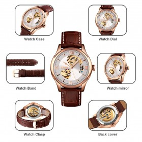 SKMEI Jam Tangan Mechanical Analog Pria Leather Strap - 9223 - Rose Gold/Silver - 8