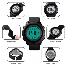 SKMEI Jam Tangan Digital Pria with Thermometer - 1682 - Black White - 4