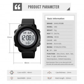 SKMEI Jam Tangan Digital Pria with Thermometer - 1682 - Black White - 9