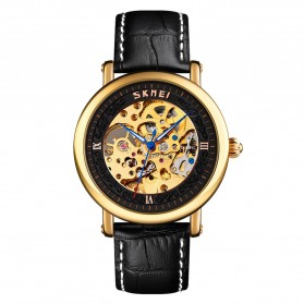 SKMEI Jam Tangan Mechanical Analog Pria Leather Strap - 9229 - Black Gold