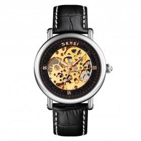 SKMEI Jam Tangan Mechanical Analog Pria Leather Strap - 9229 - Silver Black