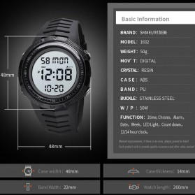 SKMEI Jam Tangan Digital Pria - 1632 - Black/Black - 8