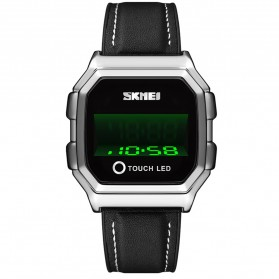SKMEI Jam Tangan Digital Pria Leather Strap - 1650 - Silver - 1