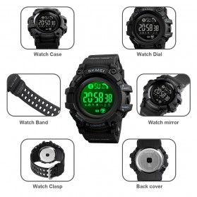 SKMEI Jam Tangan Olahraga Heartrate Smartwatch Bluetooth - 1643 - Army Green - 9