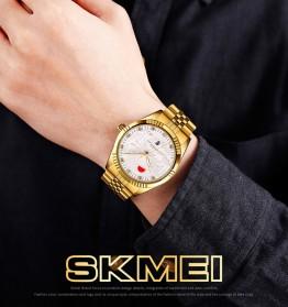 SKMEI Jam Tangan Analog Pria Strap Stainless Steel - 9233 - White/Gold - 8