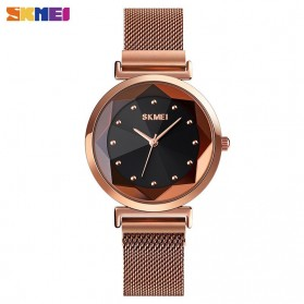 SKMEI Jam Tangan Analog Wanita Strap Stainless Steel - 1709 - Rose Gold/Black