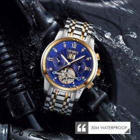 SKMEI Jam Tangan Mechanical Pria Automatic Movement - M029 - Golden/Blue - 7
