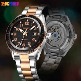 SKMEI Jam Tangan Analog Pria Strap Stainless Steel - 9232 - Silver Black - 6