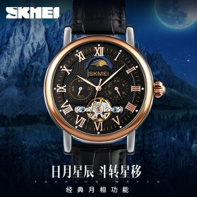 SKMEI Jam Tangan Mechanical Pria Automatic Movement - M026 - Black/Coffee - 5