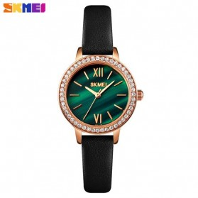 SKMEI Jam Tangan Analog Wanita Strap Leather- 1711 - Green/Black
