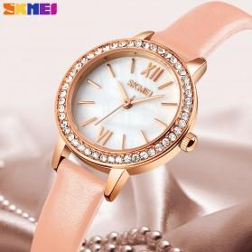 SKMEI Jam Tangan Analog Wanita Strap Leather- 1711 - White/Pink - 3