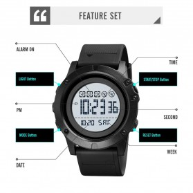 SKMEI Jam Tangan Digital Adventure Pria - 1727 - Black/Black - 6