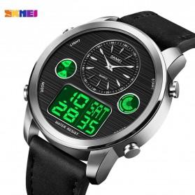 SKMEI Jam Tangan Digital Analog Leather Strap Pria - 1653 - Silver Black - 2