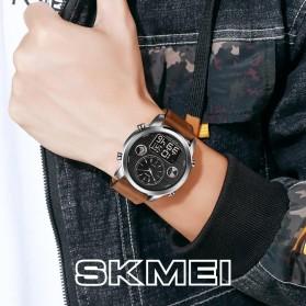 SKMEI Jam Tangan Digital Analog Leather Strap Pria - 1653 - Silver Black - 3