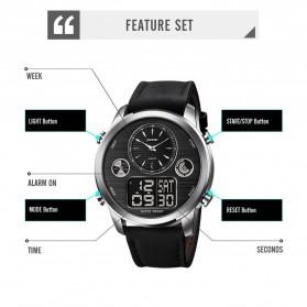 SKMEI Jam Tangan Digital Analog Leather Strap Pria - 1653 - Silver Black - 5