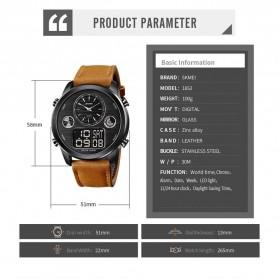 SKMEI Jam Tangan Digital Analog Leather Strap Pria - 1653 - Silver Black - 6