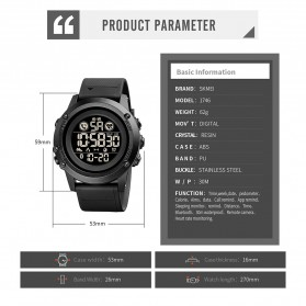 SKMEI Jam Tangan Smartwatch Pria Bluetooth Pedometer Heartrate - 1746 - Black - 10