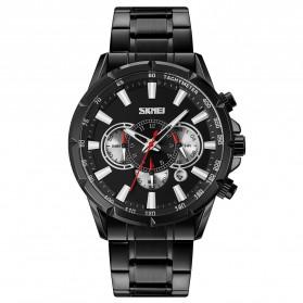SKMEI Jam Tangan Pria Analog Chronograph Stainless Steel Wristwatch - 9241 - Black