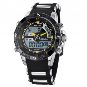 Weide Japan Quartz Silicone Strap Men LED Sports Watch 30M Water Resistance - WH1104 - Yellow - 3