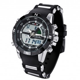 Weide Japan Quartz Silicone Strap Men LED Sports Watch 30M Water Resistance - WH1104 - Black