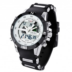 Weide Japan Quartz Silicone Strap Men LED Sports Watch 30M Water Resistance - WH1104 - White