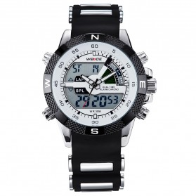 Weide Japan Quartz Silicone Strap Men LED Sports Watch 30M Water Resistance - WH1104 - White - 5