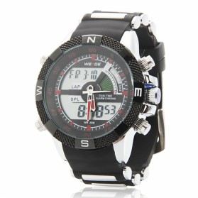 Weide Japan Quartz Silicone Strap Men LED Sports Watch 30M Water Resistance - WH1104 - Red