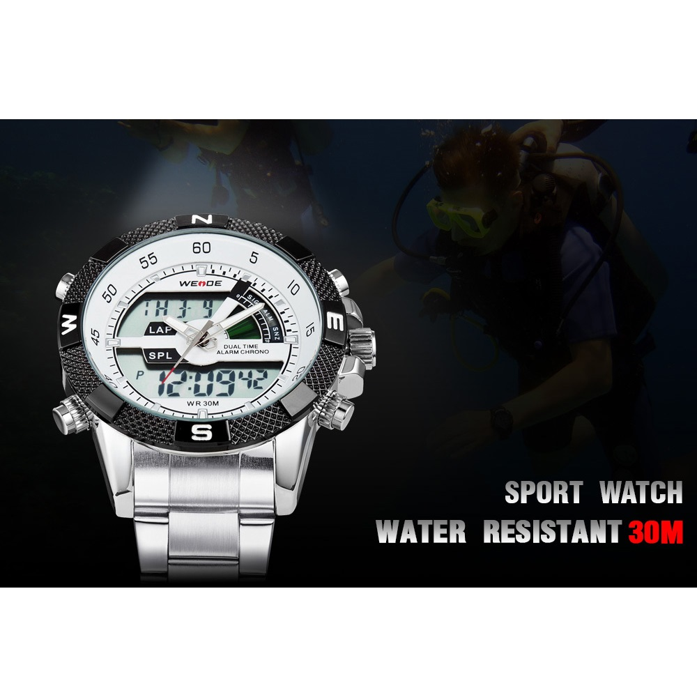 Weide japan quartz silicone strap men led sports watch 30m for Youtube h2o