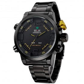 Weide Japan Quartz Miyota Men LED Sports Watch 30M - WH2309 - Black/Yellow