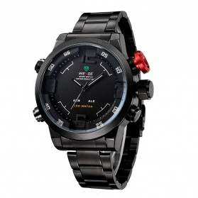 Weide Japan Quartz Miyota Men LED Sports Watch 30M - WH2309 - Black with White Side - 2
