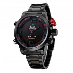 Weide Japan Quartz Miyota Men LED Sports Watch 30M - WH2309 - Black/Red