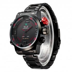 Weide Japan Quartz Miyota Men LED Sports Watch 30M - WH2309 - Black/Red - 2