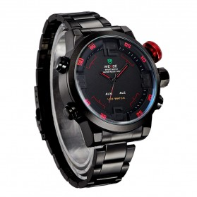 Weide Japan Quartz Miyota Men LED Sports Watch 30M - WH2309 - Black/Red - 3