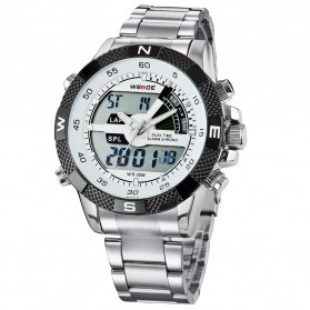 Weide Japan Quartz Stainless Strap Men LED Sports Watch 30M Water Resistance - WH1104 - White - 1