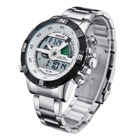 Weide Japan Quartz Stainless Strap Men LED Sports Watch 30M Water Resistance - WH1104 - White - 2