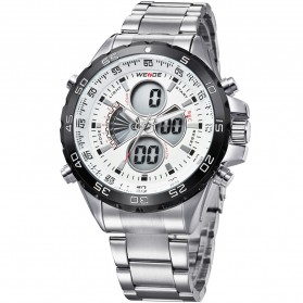 Weide Japan Quartz Stainless Strap Men LED Sports Watch 30M Water Resistance - WH1103 - White