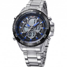 Weide Japan Quartz Stainless Strap Men LED Sports Watch 30M Water Resistance - WH1103 - Blue
