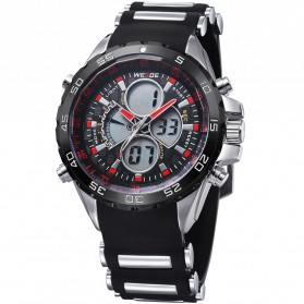 Weide Japan Quartz Silicone Strap Men LED Sports Watch 30M Water Resistance - WH1103 - Red