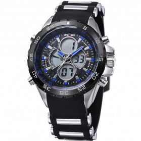 Weide Japan Quartz Silicone Strap Men LED Sports Watch 30M Water Resistance - WH1103 - Blue