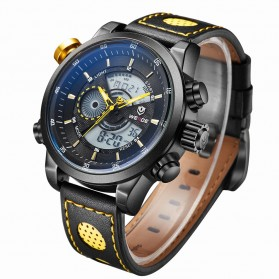 Weide Japan Quartz Leather Strap Men Sports Watch 30M Water Resistance - WH3401 - Black/Yellow