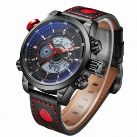 Weide Japan Quartz Leather Strap Men Sports Watch 30M Water Resistance - WH3401 - Black/Red